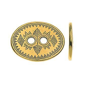 TierraCast Tin, Ovale 2-Holes Button Tribal 14.5x19mm, 1 Stuk, Antiek Goud