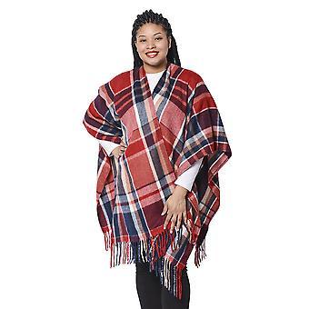 Plädmönster Kimono med Tofs Hem i rött och marin 110x80+10cm