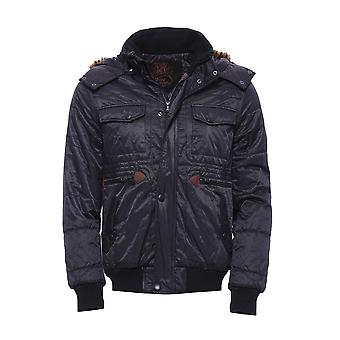 Hooded black quilted jacket
