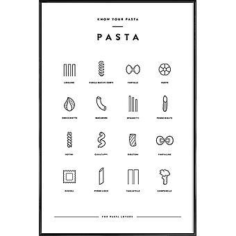 JUNIQE Print -  Pasta chart - Essen & Trinken Poster in Schwarz & Weiß