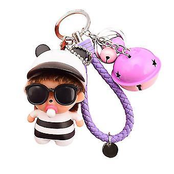 Cartoon Key Ring Buckle Sunglasses  Key Chain Bag Leather Cord Pendant