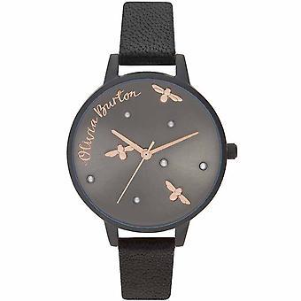 Reloj de esfera negra Olivia Burton Pearly Queen black dial - OB16PQ02