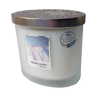 Heart & Home Ellipse Twin Wick Soy Wax Candle - Fresh Linen 00276260306