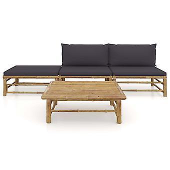 vidaXL 4 stuks. Tuin lounge set met donkergrijs kussen bamboe