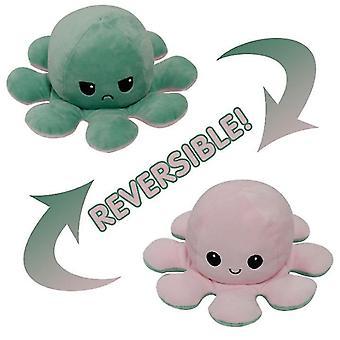 Vihreä vaaleanpunainen flip mustekala nukke kaksipuolinen flip nukke mustekala muhkea lelu x873