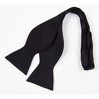 Męski jedwab satyna zwykły stały czarny muszka / krawaty krawat