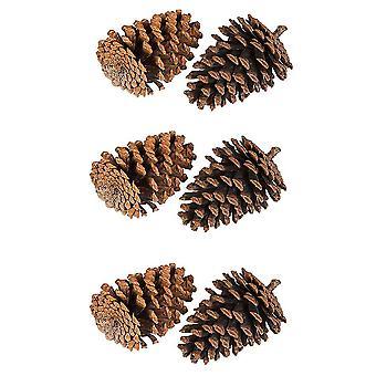 Nye 6pcs Furu Kjegle Juledekorasjon 6cm ES13158