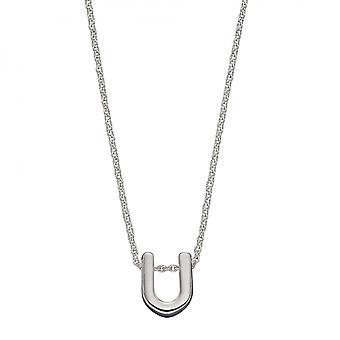 Начальный U Простой Серебристый Начальный Ожерелье N4448