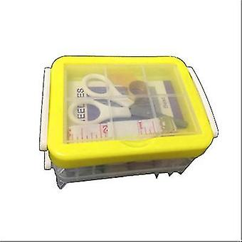Three-layer Transparent Sewing Box Needle And Thread Storage Tool Portable(Yellow)