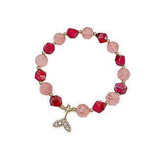 Erdbeere Kristall Fischschwanz Armband weibliche elastische Exquisite Armband