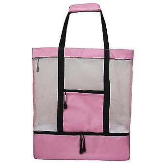 Mesh Beach Tote Bag s odnímatelnou (růžová)