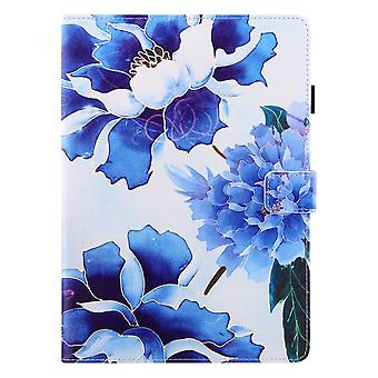 """Case For Ipad 6 9.7"""" Generation 2018 / Ipad 5th Generation 2017 Cover Auto Sleep/wake Rotating Multi-angle Viewing Folio Stand - Blue Flower"""