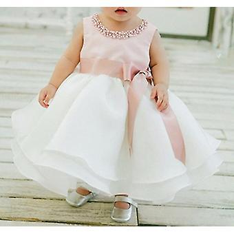 Organza Peals Nyak Baby Ujjatlan Tutu Big Bowknot ruha 0-6 hónap