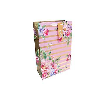 SIDSTE PAR - Parfume Style Papir Gavepose - Floral Stripe - 20x12x9