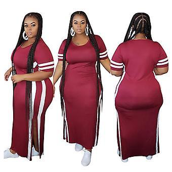 Sukienka plus size z okrągłym dekoltem kolor kontrast patchwork ciasno rozcięty długi