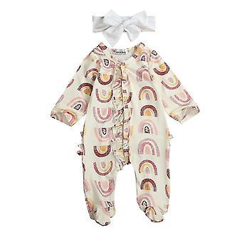 Vauvan kevät syksyn vaatteet Pitkähihaiset footies Rainbow painettu