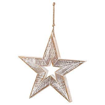 Hill Interiors Wooden Star Hanging Ornament