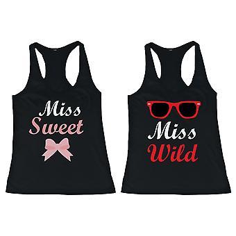 BFF linnen Miss Wild och Miss Sweet matchande skjortor för bästa vänner