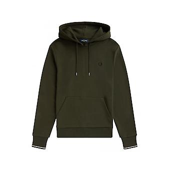 Fred Perry Tipped Hooded Sweatshirt (Hunting Green)