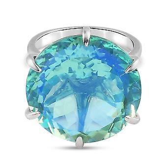 Pfau Triplet Quarz Solitär Ring für Frauen in Silber weiß Diamant 26ct