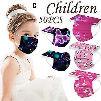 50pc Disposable Face Masks For Women Adults With Cute Fashion Designs Printed Colored 3ply Face