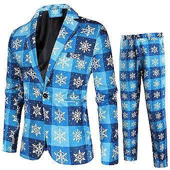 הדפס חג המולד של מייל גברים שלושה חלקים חליפה חד-חזה (יחיד מערב + אפוד + מכנסיים) כחול