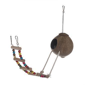Madarak Kókuszhéj tenyésztés fészek papagájok hörcsög mászni létra Swing lógó toy