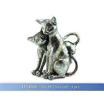 Twin katter hånd ferdig metallisk skulpturer fra Leonardo