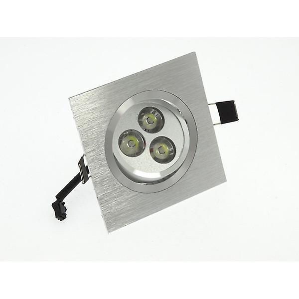 I LumoS High Quality Epistar 3 Watts Silver Square Aluminium Pure White LED Tiltable Recessed Spot Down light