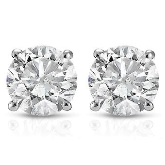 Diamant de 1,00 CT goujons 14 K or blanc