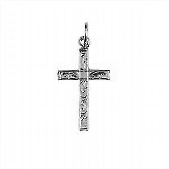 Silber 20x13mm Hand graviert festen Block Kreuz