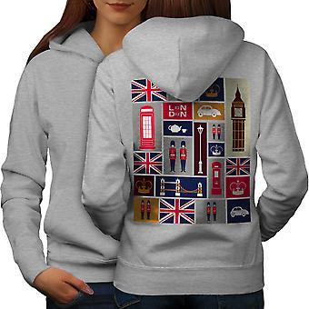 Reino Unido amor mujeres GreyHoodie respaldo | Wellcoda