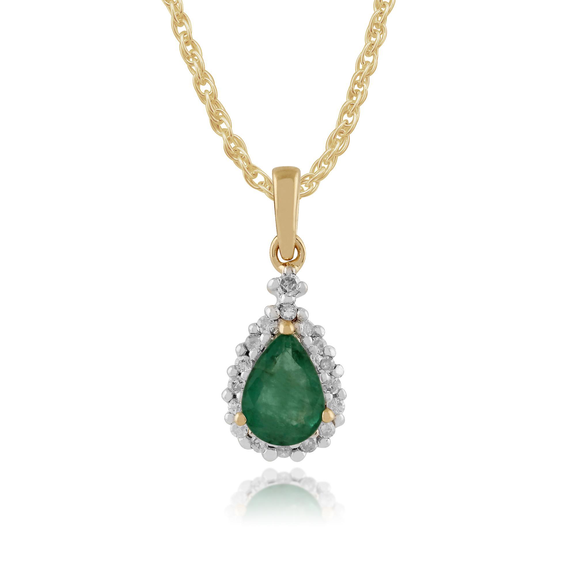 Gemondo 9ct Yellow Gold 0.66ct Emerald & Diamond Pear Cluster Pendant on Chain