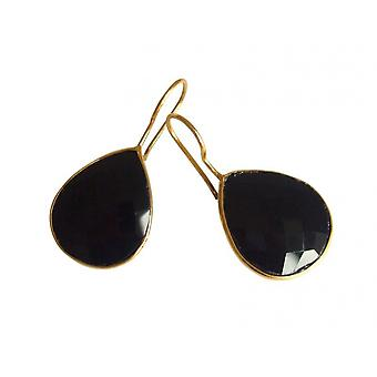 Gemshine - Women '- Earrings - 925 Silver - Gold plated - Onyx - Black - CANDY