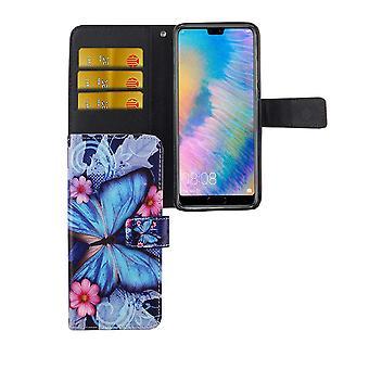 Handyhülle Tasche für Handy Huawei P20 Blauer Schmetterling