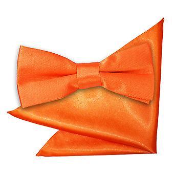 Brent oransje ren sateng sløyfe og Pocket Square satt for gutter
