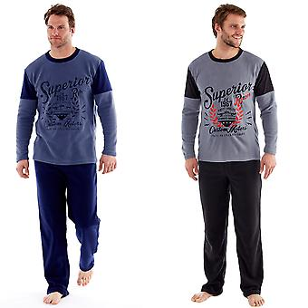 Harvey James Mens Thermal pizsama pants hosszú ujjú gyapjú Top Loungewear szettek