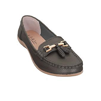 Ladies Leather Slip On Moccasins Comfortable Flat Tassel Low Heel Loafer Shoes