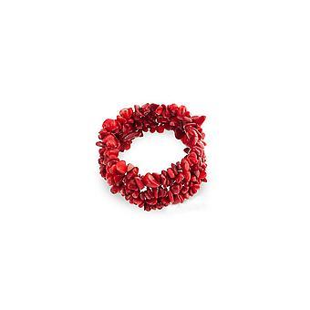 Sten Korall röd ädelstenar Stretch armband