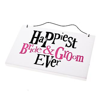 Bright Side Happiest Bride & Groom Wedding Day Sign