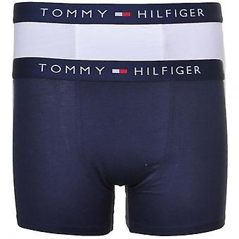 トミーヒルフィガー男の子 2 パック アイコン ボクサー トランク、ホワイト/ネイビー、X ラージ