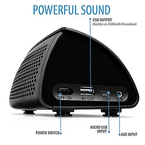 V7 Powerbank and Bluetooth 3.0 speaker (3600 mAh, 5 Watt, NFC connection function), black