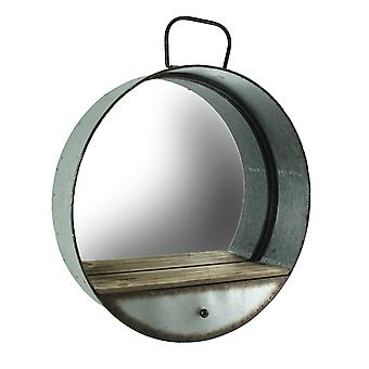 Galvanized Zinc Finish Metal Tub Frame Round Wall Mirror with Drawer
