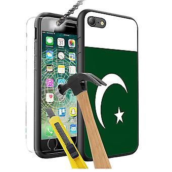 For Nokia 8 - Pakistan Flag Design Printed Black Case Skin Cover with Tempered Glass - 0132 by i-Tronixs