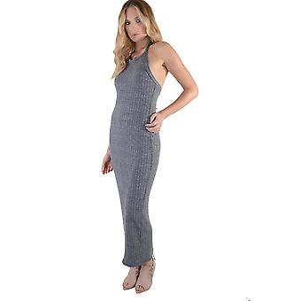 Lovemystyle Grey Knitted Halterneck Maxi Dress