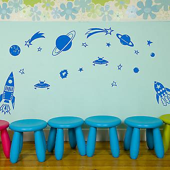 Set of Planets And Rockets Kids Wall Stickers