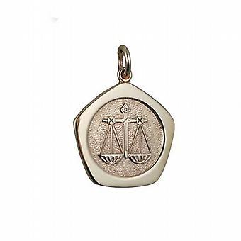 9ct золота 21 мм пять односторонний Кулон знак зодиака Весы