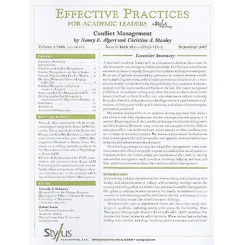 Conflict Management: Issue 9 (Effective Practices for Academic Leaders)