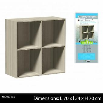 4 cuburi raft de depozitare din lemn culoare naturala 70x34x70cm
