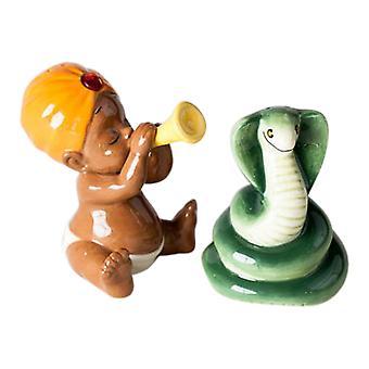 Hypnotic Snake Charmer Baby Playing Pungi Salt and Pepper Shaker Set
